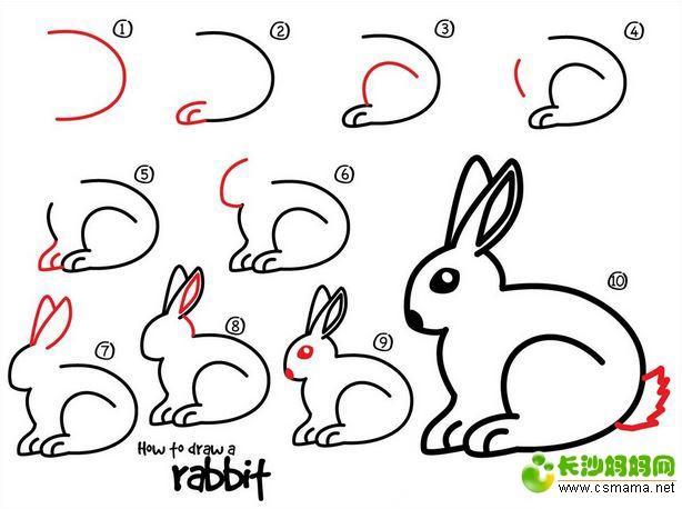 七 如何画小白兔简笔画