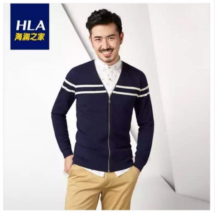 第二件,海澜之家羊毛衫,条纹假两件,19%羊毛,藏青色,48(170/88a)码,剪