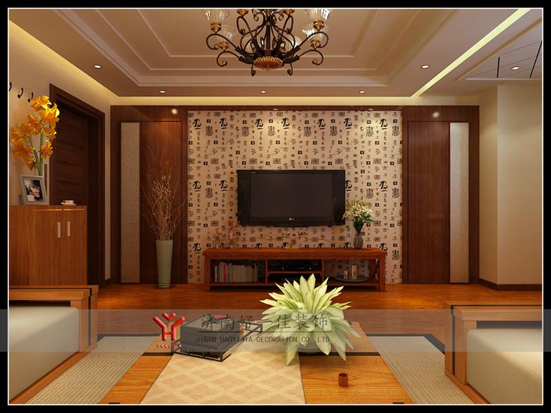 中式客厅花格影视墙图片